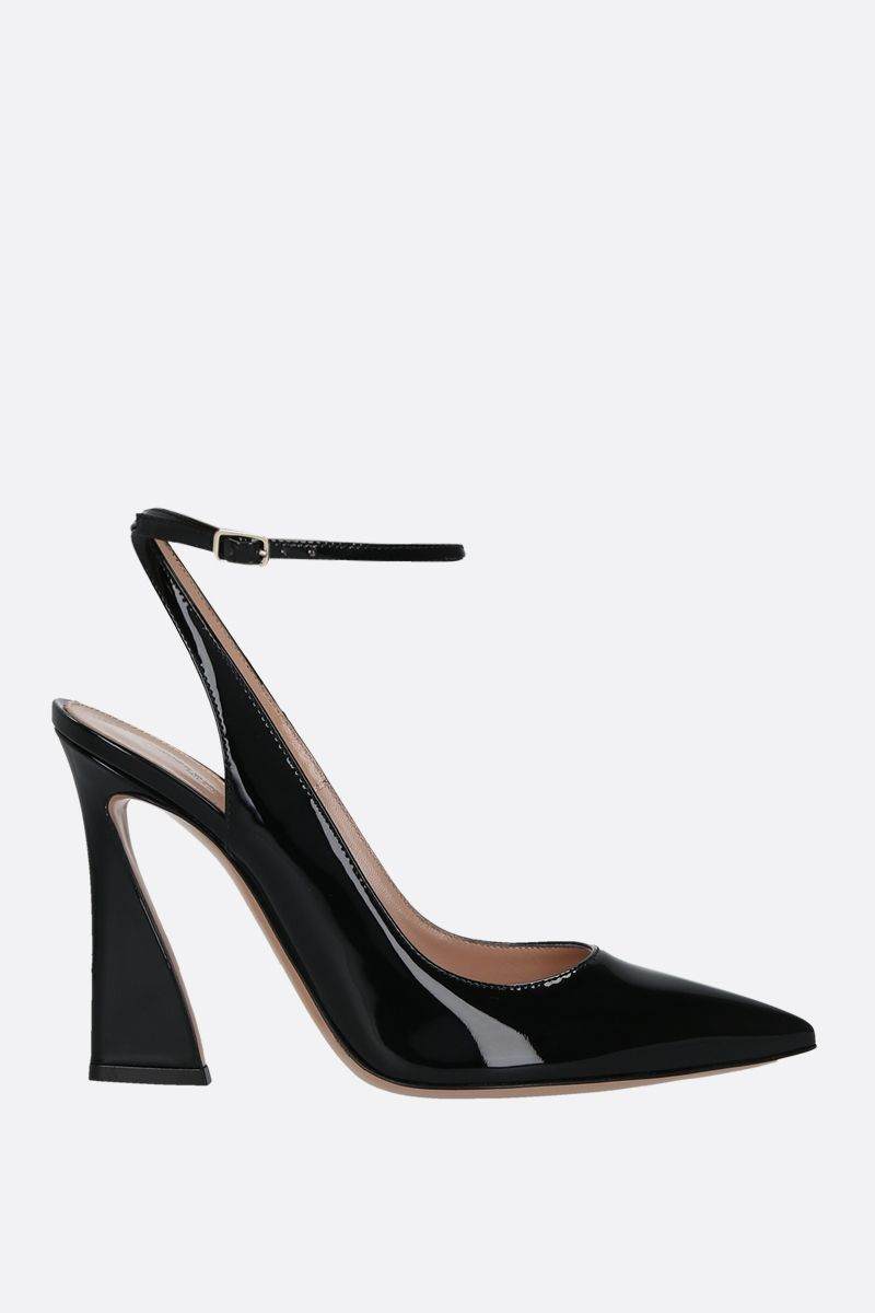GIANVITO ROSSI: Aura patent leather slingbacks Color Black_1