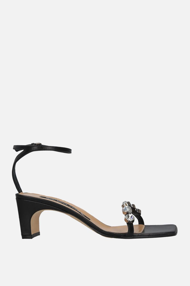 SERGIO ROSSI: SR1 nappa leather sandals Color Black_1