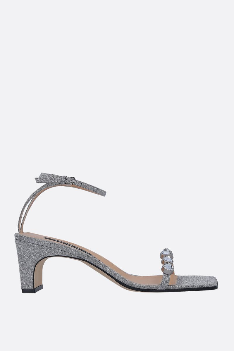 SERGIO ROSSI: SR1 glitter fabric sandals Color Silver_1