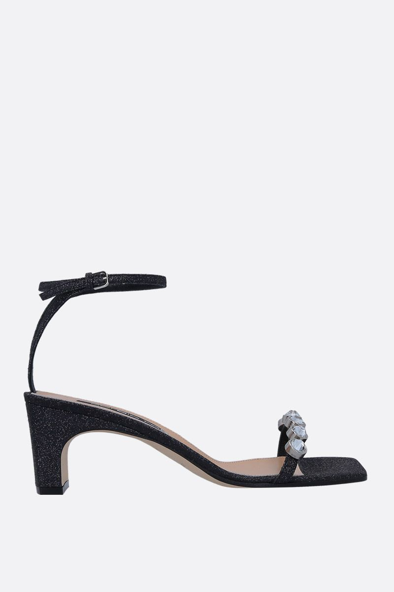 SERGIO ROSSI: SR1 sandals in glitter fabric_1