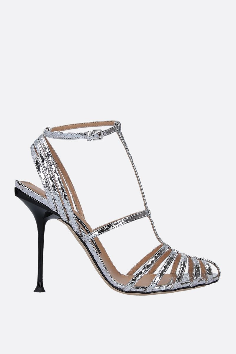 SERGIO ROSSI: sr Milano sandals in crinkle leather Color Silver_1