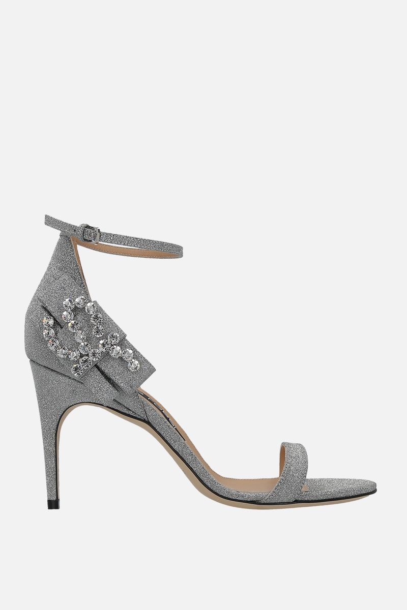 SERGIO ROSSI: sr Icona sandals in glitter fabric Color Silver_1