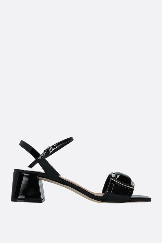 SERGIO ROSSI: sr Prince patent leather sandals Color Black_1