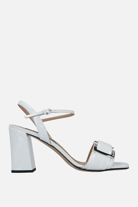 SERGIO ROSSI: sr Prince patent leather sandals Color White_1