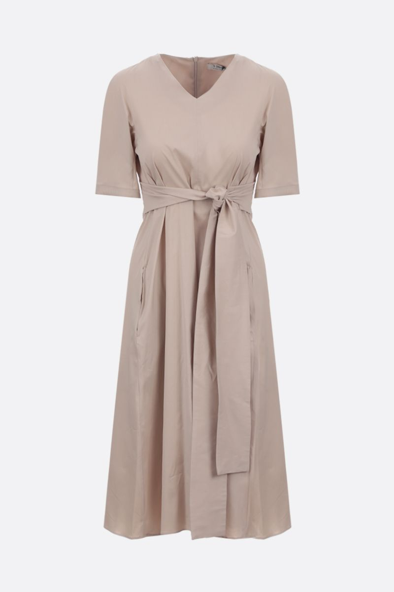 'S MAX MARA: Lea stretch poplin midi dress Color Neutral_1