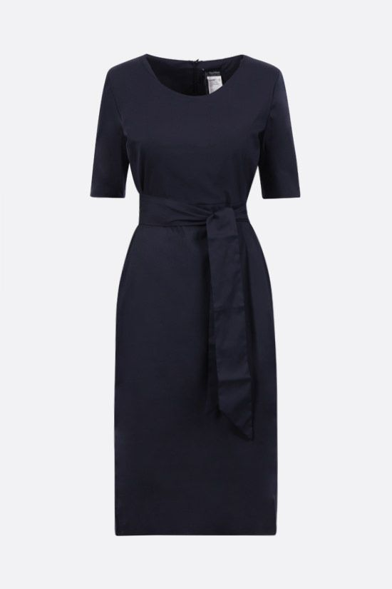'S MAX MARA: Liriche stretch cotton midi dress Color Blue_1