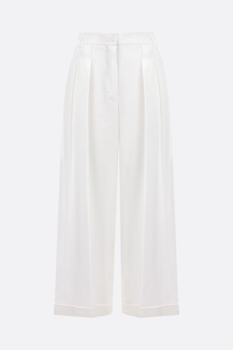 'S MAX MARA: Grace linen cotton blend wide-leg pants Color White_1