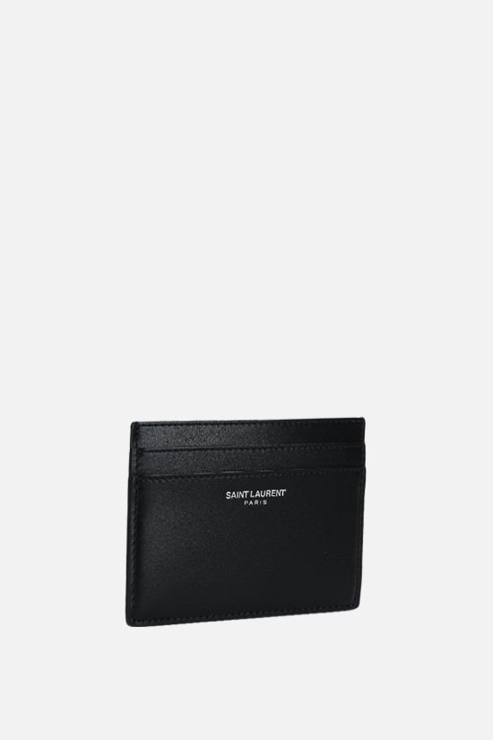 SAINT LAURENT: logo-detailed smooth leather card case Color Black_2