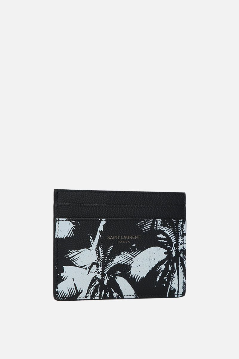 SAINT LAURENT: printed Grain de Poudre leather card case Color Black_2