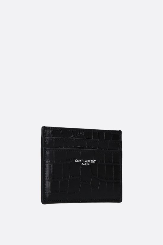SAINT LAURENT: crocodile-embossed leather card case Color Black_2