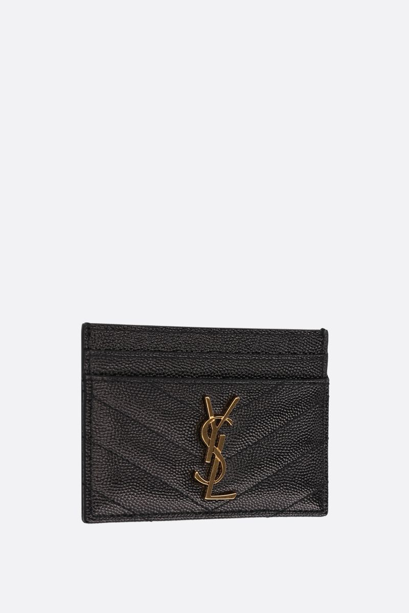 SAINT LAURENT: porta carte Monogram in pelle matelassè Colore Nero_2