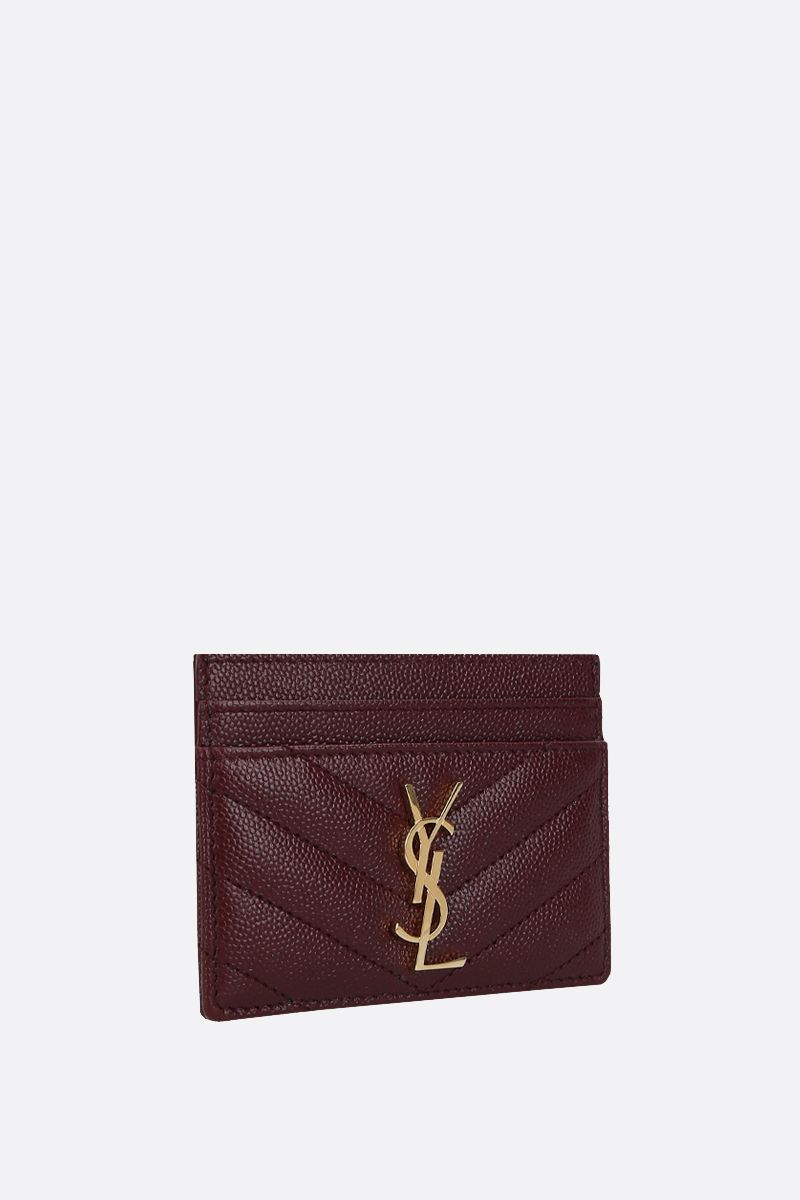 SAINT LAURENT: Monogram quilted leather card case Color Red_2