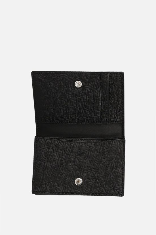 SAINT LAURENT: Grain de Poudre leather flap card case Color Black_2