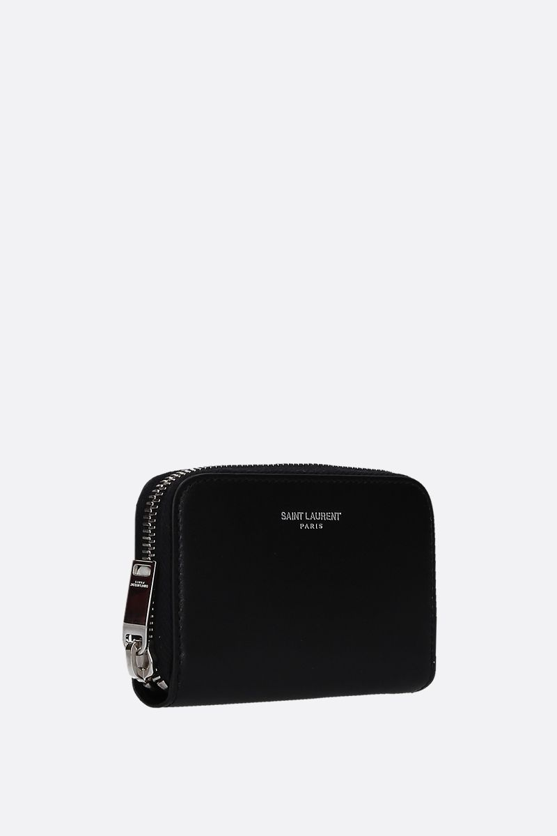 SAINT LAURENT: smooth leather zip-around card case Color Black_2