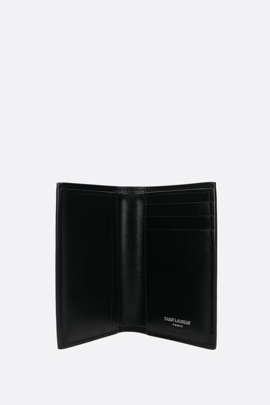 SAINT LAURENT: porta carte Monogram in pelle lucida Colore Nero_2