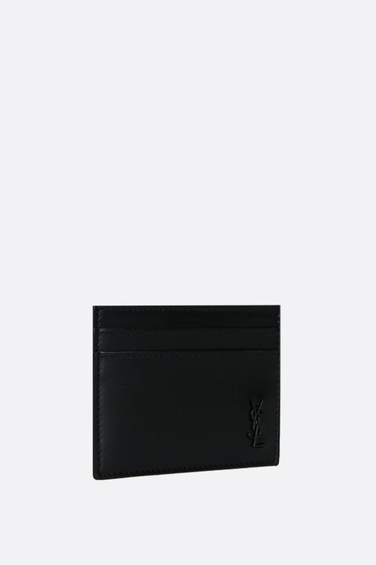 SAINT LAURENT: Monogram smooth card case Color Black_2