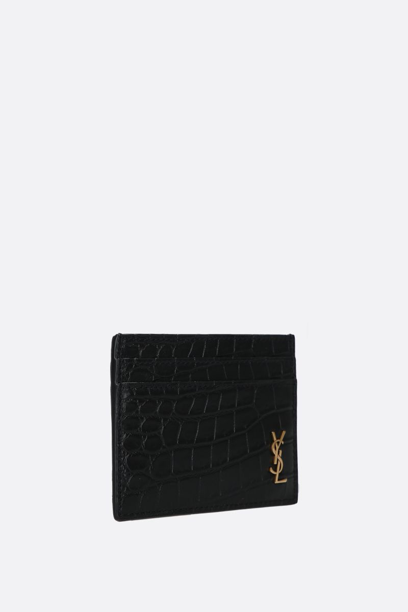 SAINT LAURENT: porta carte Monogram in pelle stampa coccodrillo Colore Nero_2