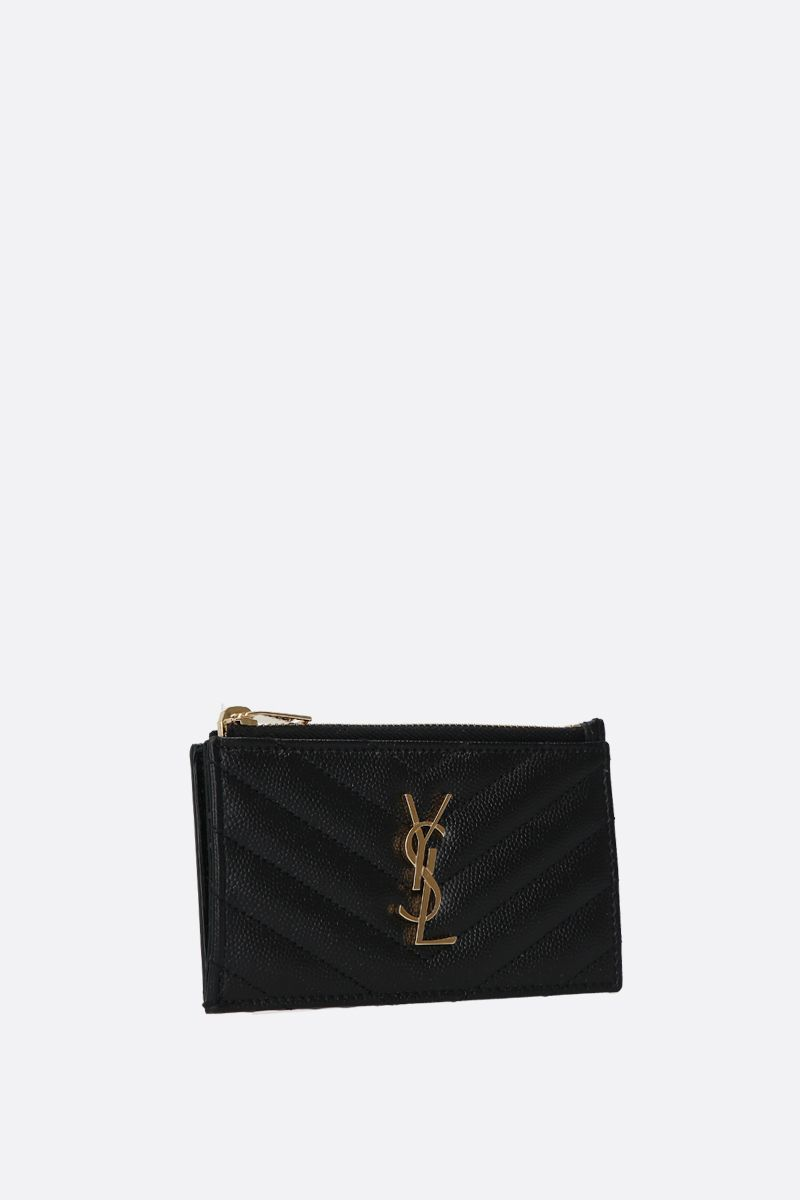 SAINT LAURENT: porta carte con zip Monogram Fragments in pelle matelassè Colore Nero_2