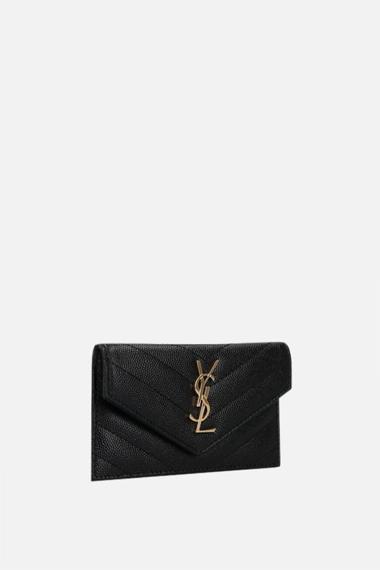 SAINT LAURENT: Monogram Fragments quilted leather zip card case Color Black_2