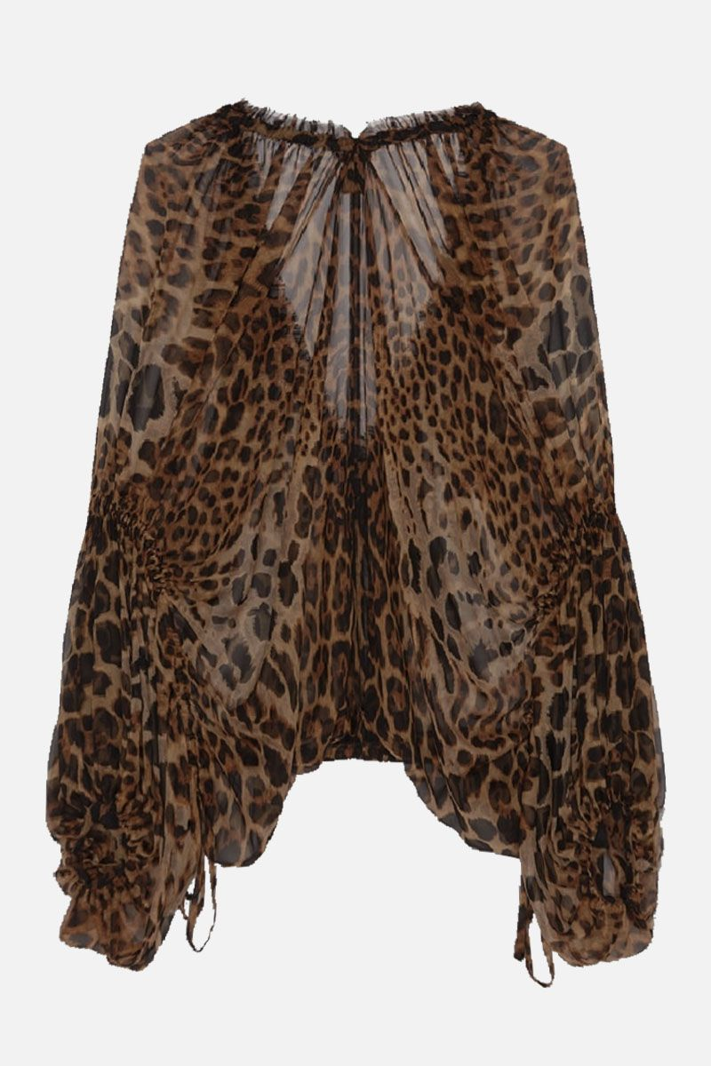 SAINT LAURENT: leopard print chiffon blouse Color Animalier_2