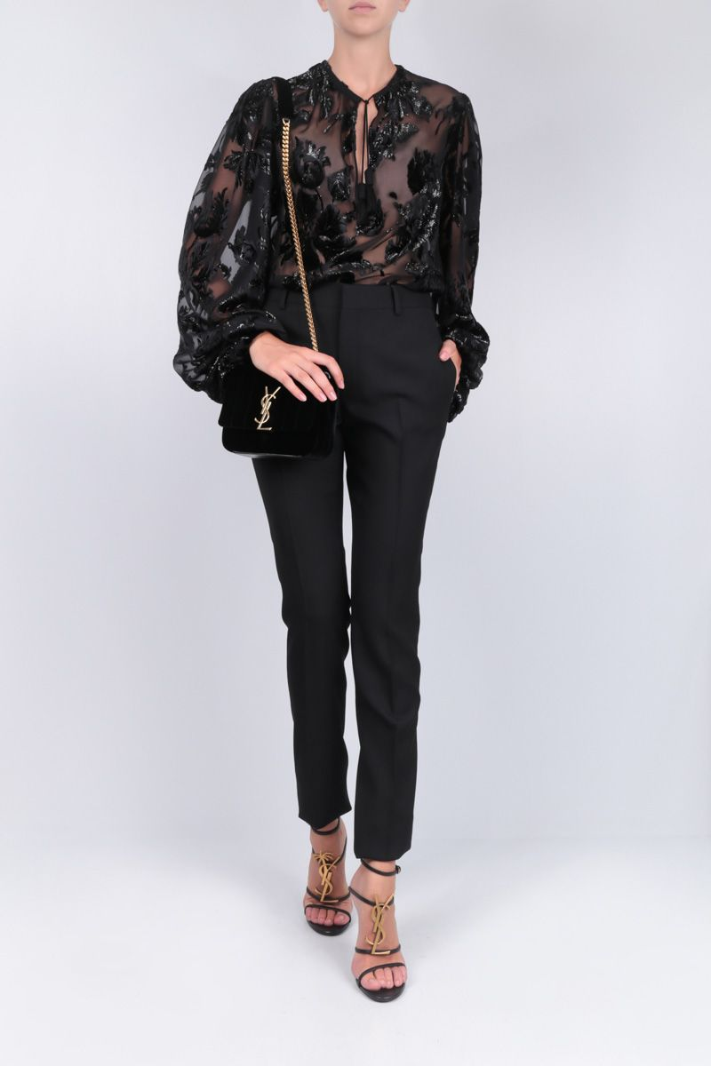 SAINT LAURENT: devorè velvet blouse with floral motif Color Black_2