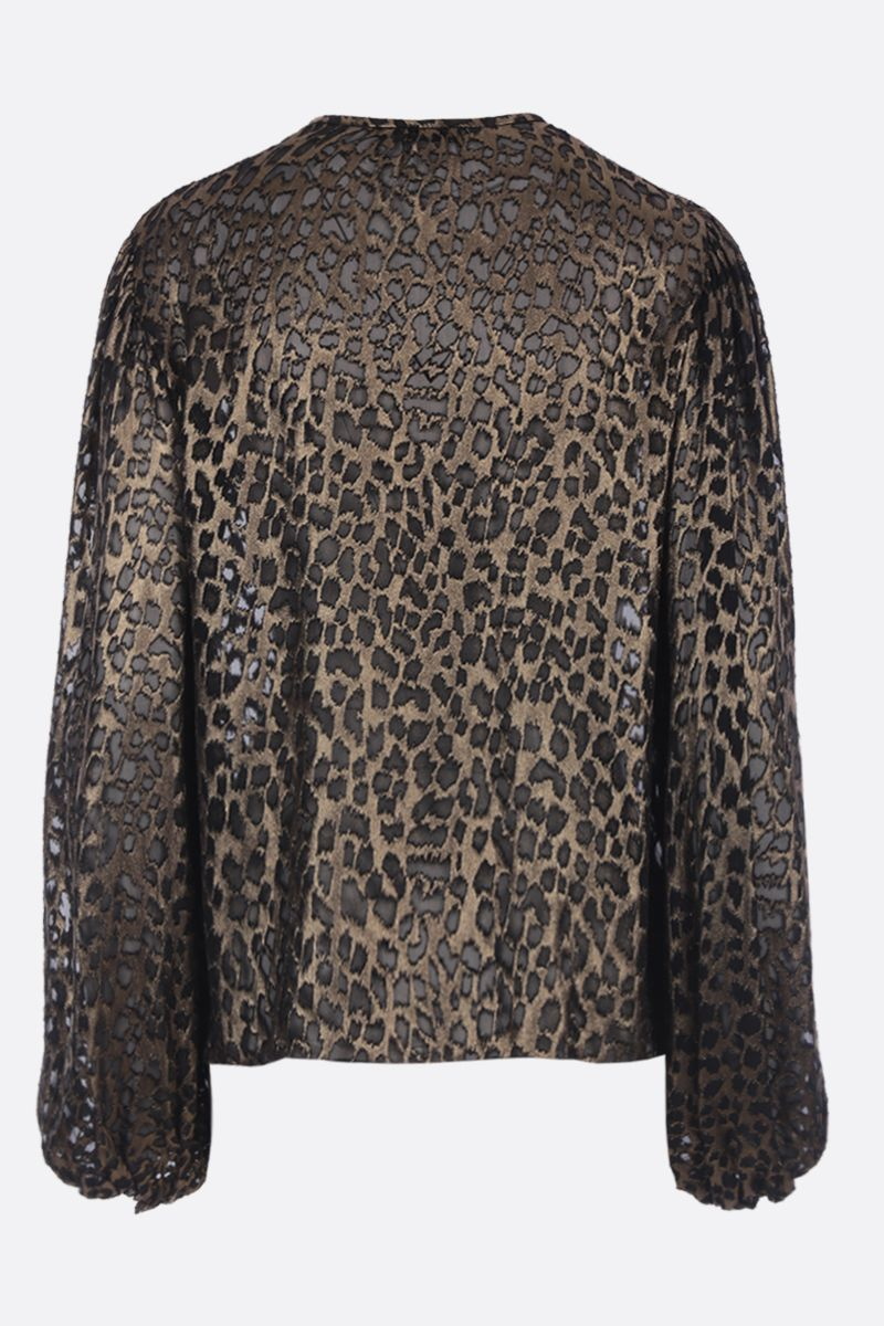 SAINT LAURENT: leopard motif devorè silk blend blouse Color Black_2