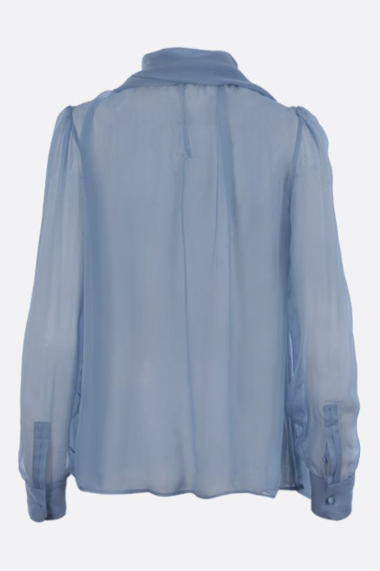 SAINT LAURENT: lavallière-detailed silk chiffon blouse Color Blue_2