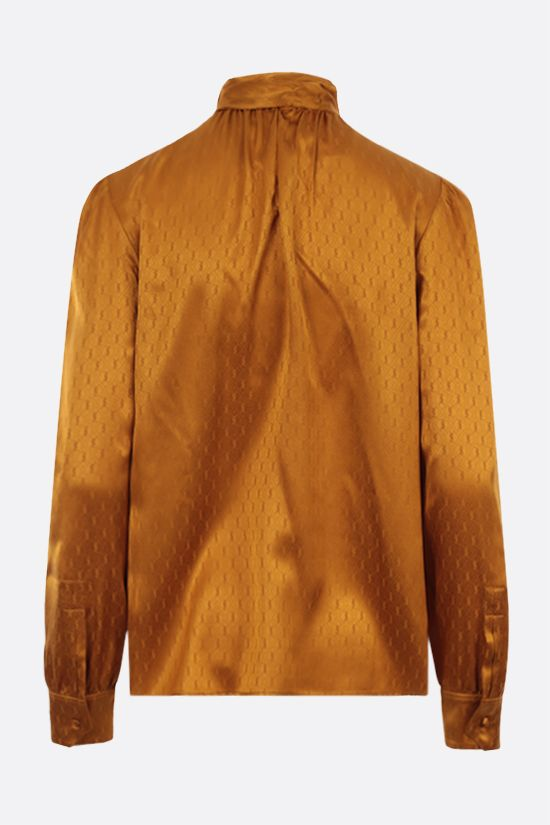 SAINT LAURENT: blusa in jacquard di seta Monogram Colore Giallo_2
