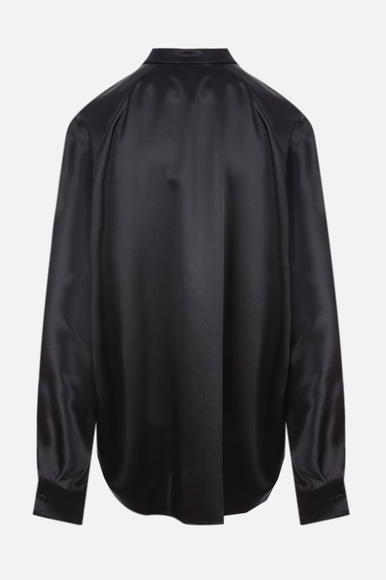 SAINT LAURENT: oversize satin shirt Color Black_2