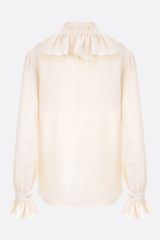 SAINT LAURENT: frilled crepe de chine shirt Color Neutral_2