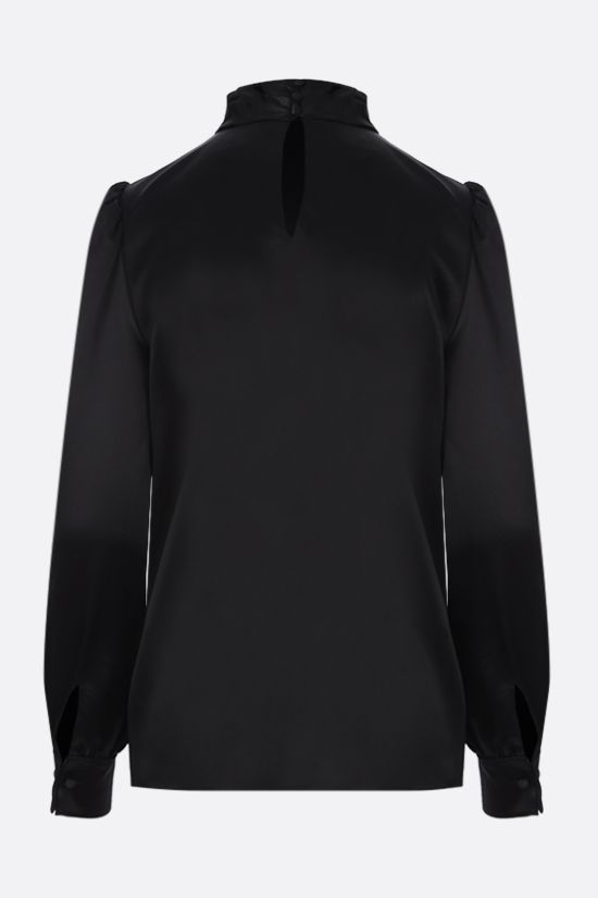 SAINT LAURENT: silk satin blouse Color Black_2
