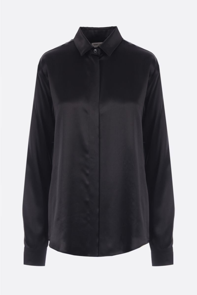 SAINT LAURENT: camicia in raso di seta Colore Nero_1