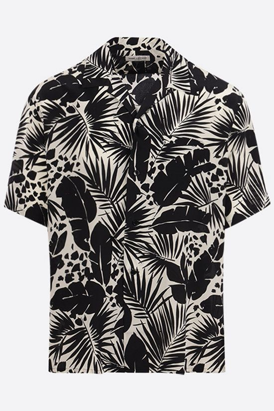 SAINT LAURENT: tropical print crepe de chine bowling shirt Color Black_1