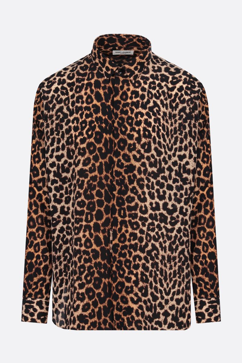 SAINT LAURENT: leopard print silk shirt Color Animalier_1