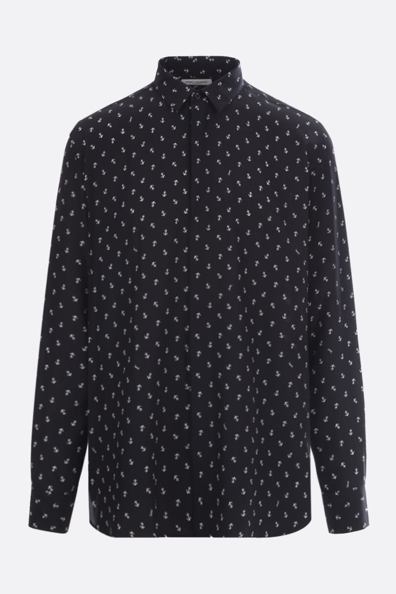 SAINT LAURENT: Anchor print silk shirt Color Black_1