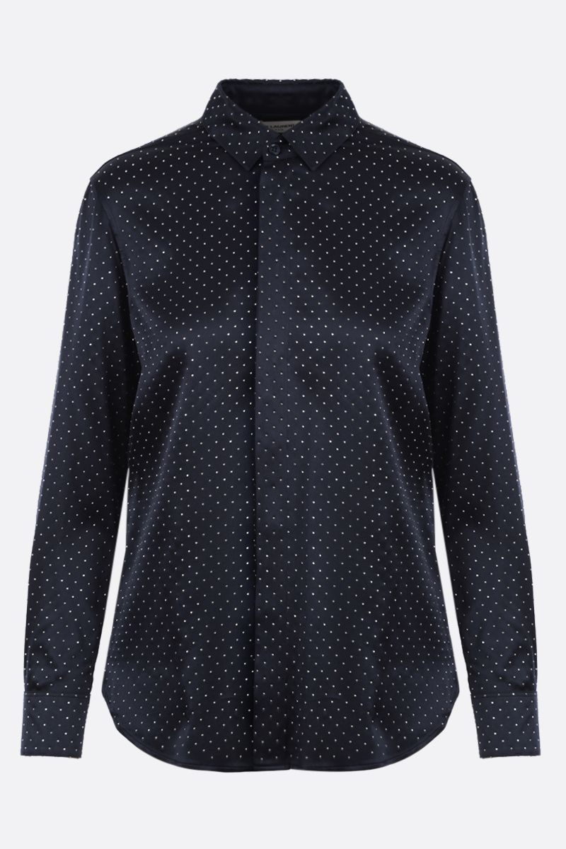 SAINT LAURENT: micro-studs embellished satin shirt Color Blue_1