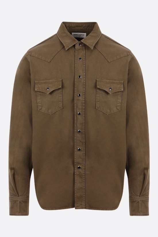SAINT LAURENT: camicia western in denim Colore Verde_1