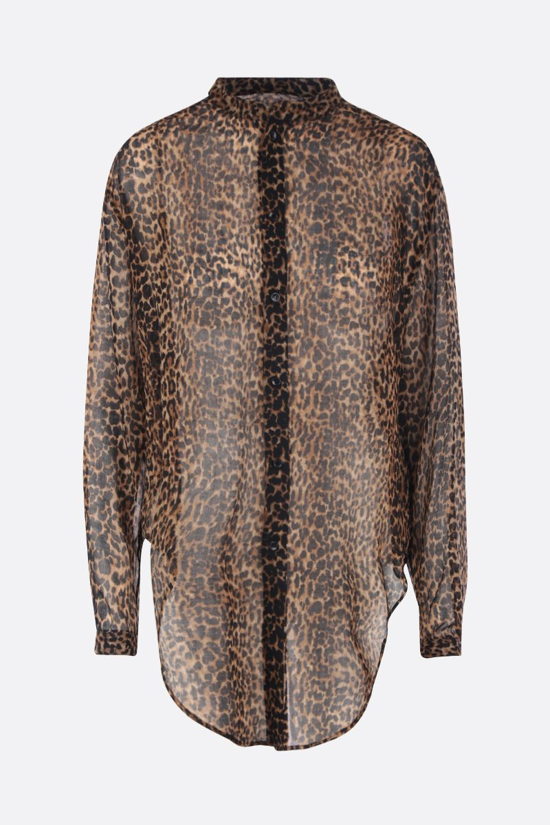 SAINT LAURENT: leopard print wool oversized shirt Color Animalier_1