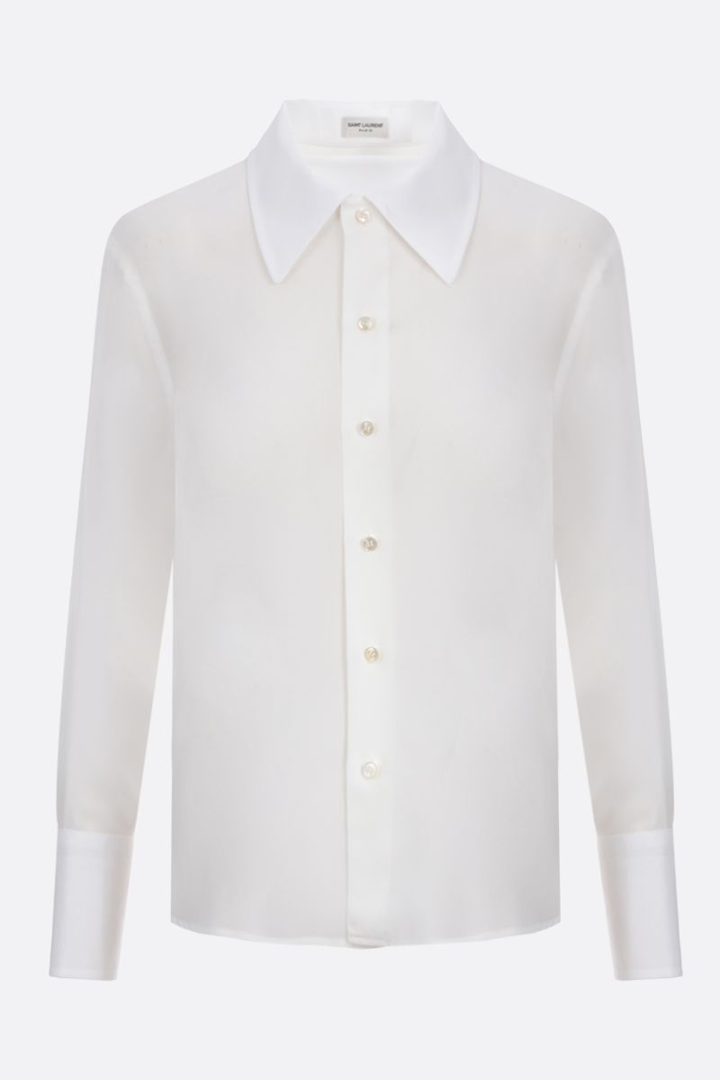 SAINT LAURENT: camicia classica in crepe de chine_1