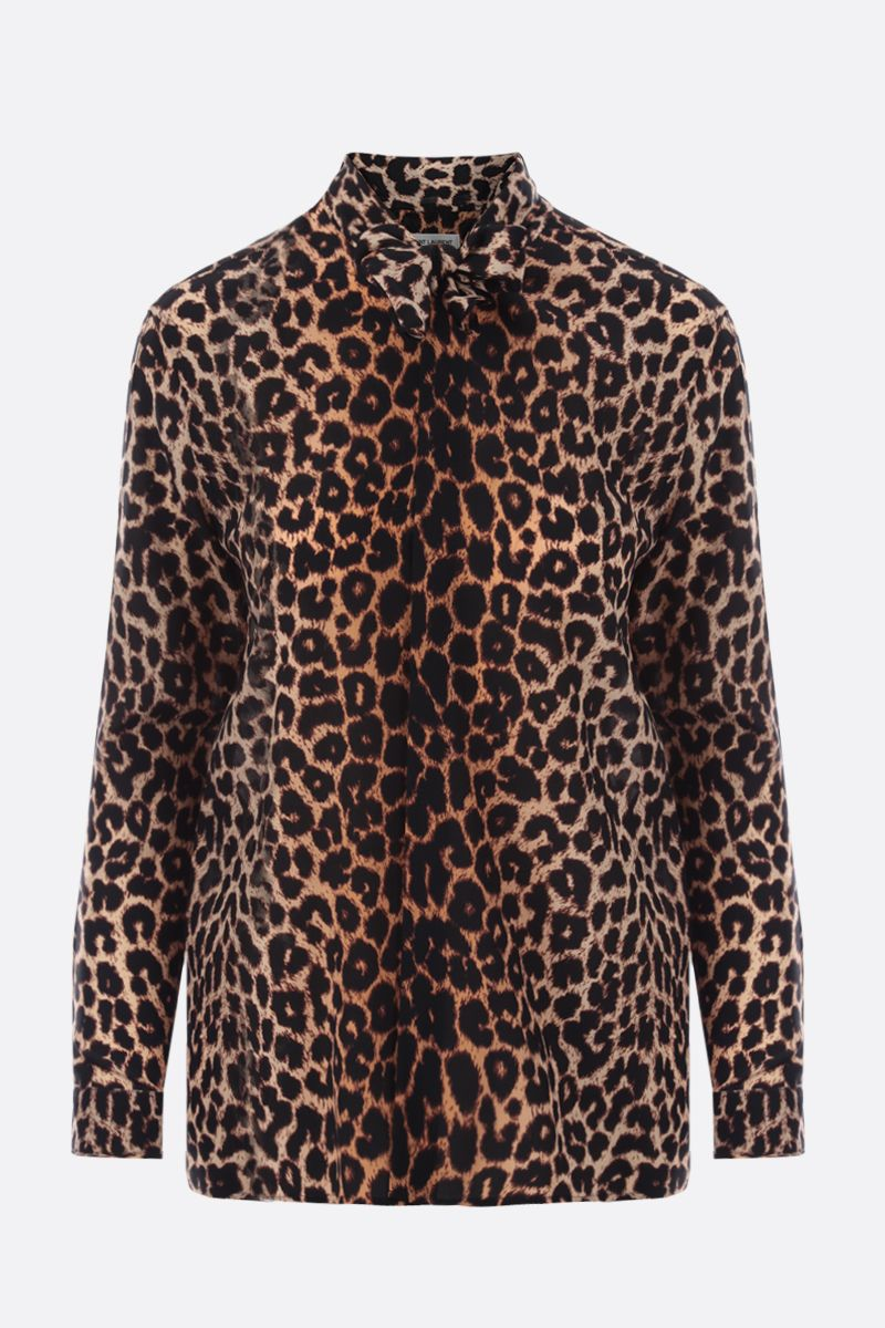 SAINT LAURENT: leopard print crepe de chine shirt Color Animalier_1