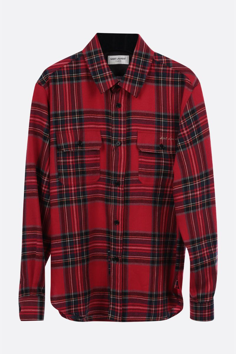SAINT LAURENT: check flannel shirt Color Red_1