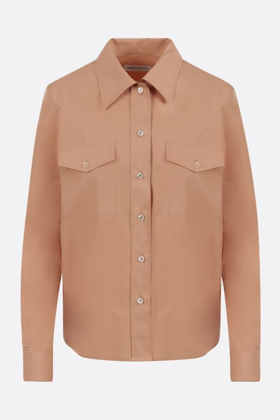 SAINT LAURENT: fitted poplin shirt Color Neutral_1