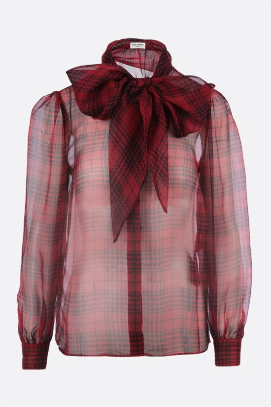 SAINT LAURENT: prince of wales print silk shirt Color Red_1