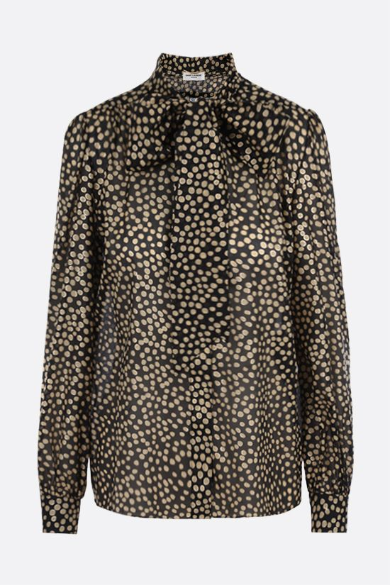 SAINT LAURENT: lavallière-detailed polka-dot print silk shirt Color Black_1