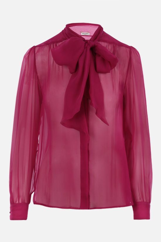 SAINT LAURENT: lavallière-detailed silk chiffon shirt Color Purple_1