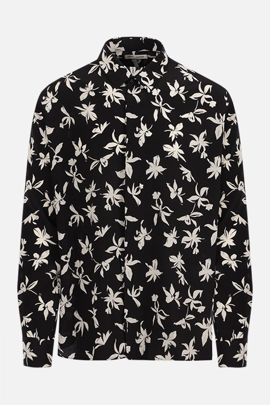 SAINT LAURENT: camicia in crepe de chine stampa orchidea Colore Nero_1