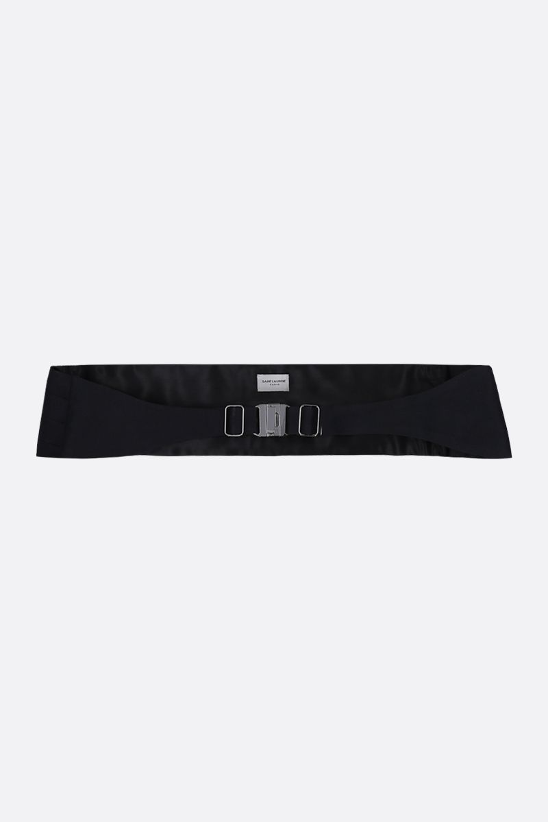 SAINT LAURENT: tuxedo cummerbund in silk satin Color Black_1