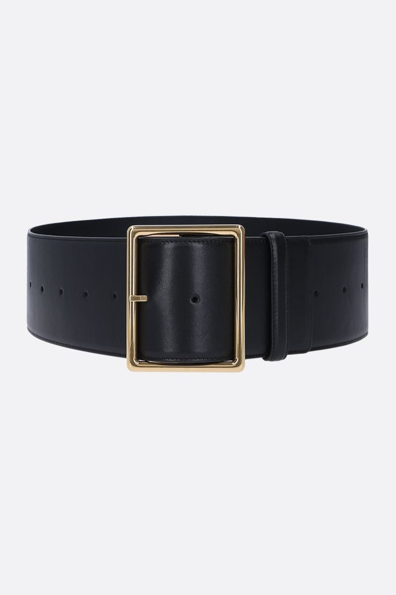 SAINT LAURENT: smooth leeather belt Color Black_1