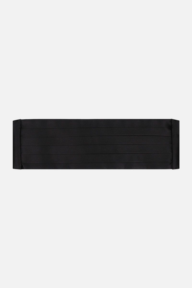 SAINT LAURENT: silk satin smoking belt Color Black_1