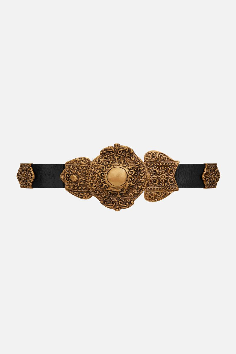 SAINT LAURENT: crackled leather Bizantine belt Color Black_1